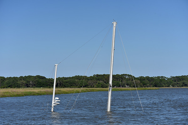 Sailboat Sunk in Lathem Creek, Jekyll Island 05-16-19