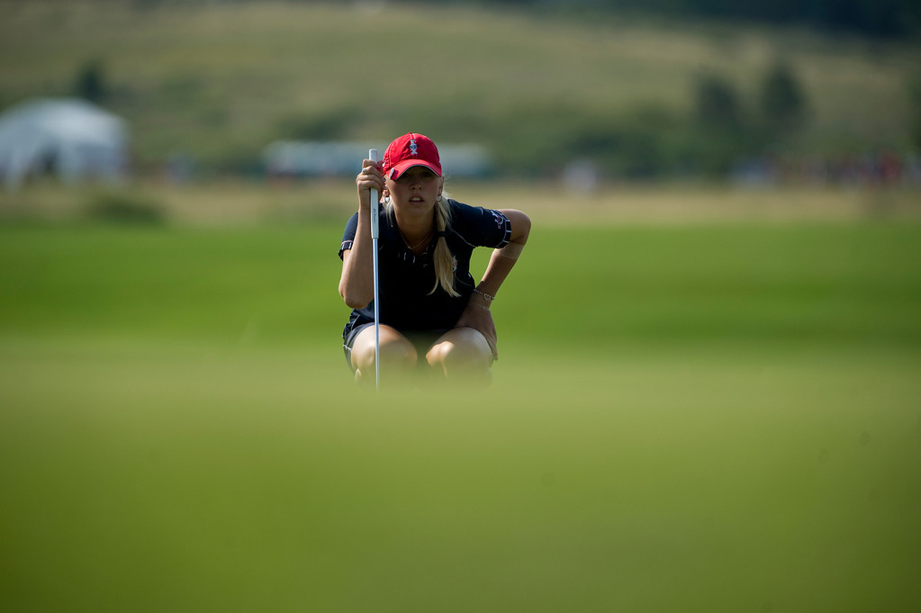 . PARKER, CO - AUGUST 16: American Jessica Korda aims a putt on the third hole during the first day of the Solheim Cup at Colorado Golf Club, on August 16, 2013.  (Photo By Grant Hindsley/The Denver Post)