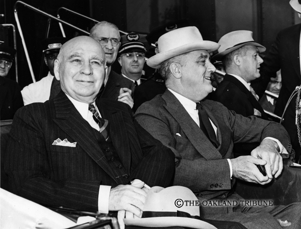 . San Francisco, CA July 14, 1938 - Govenor Frank Merriam and President Franklin D. Roosevelt. The president visisted the area to view the newly finished bridges and site of 1939 Golden Gate Exposition. (Oakland Tribue Staff Archives)