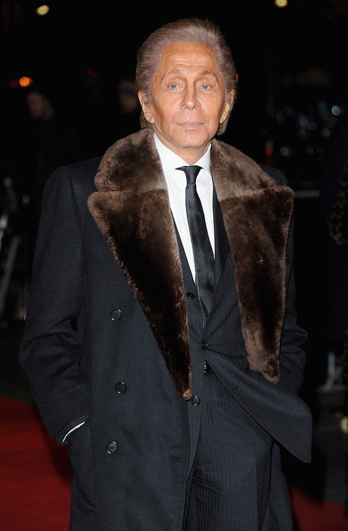 ". Fashion designer Valentino attends the ""Les Miserables\"" World Premiere at the Odeon Leicester Square on December 5, 2012 in London, England.  (Photo by Stuart Wilson/Getty Images)"