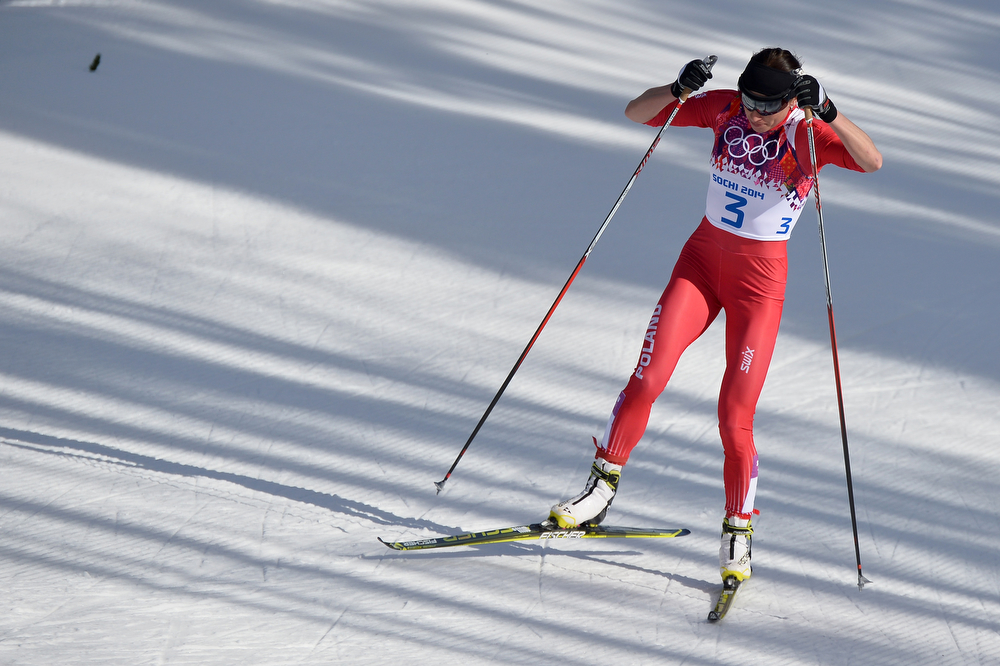 . Poland\'s Justyna Kowalczyk  competes in the Women\'s Cross-Country Skiing 30km Mass Start Free at the Laura Cross-Country Ski and Biathlon Center during the Sochi Winter Olympics on February 22, 2014, in Rosa Khutor, near Sochi. (ALBERTO PIZZOLI/AFP/Getty Images)