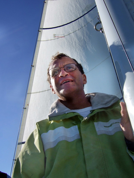 """Marc Lambros - Sailing on San Francisco Bay on Ron Young's classic wooden boat """"Youngster"""""""