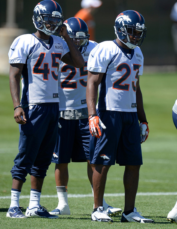 . Quentin Jammer (23) prepares for drill during practice August 26, 2013 at Dove Valley. (Photo by John Leyba/The Denver Post)
