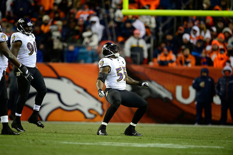 . Baltimore Ravens outside linebacker Terrell Suggs (55) celebrates a sack in the fourth quarter. The Denver Broncos vs Baltimore Ravens AFC Divisional playoff game at Sports Authority Field Saturday January 12, 2013. (Photo by AAron  Ontiveroz,/The Denver Post)