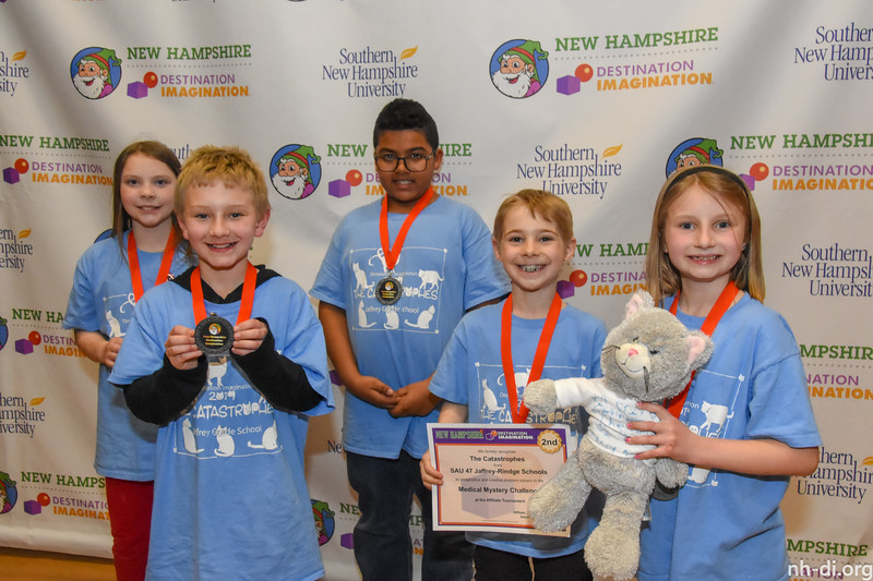 2nd place. 130-86605 ,SAU 47 Jaffrey-Rindge Schools, The Catastrophes, Jaffrey, NH, Scientific Challenge- Medical Mystery , Elementary Level