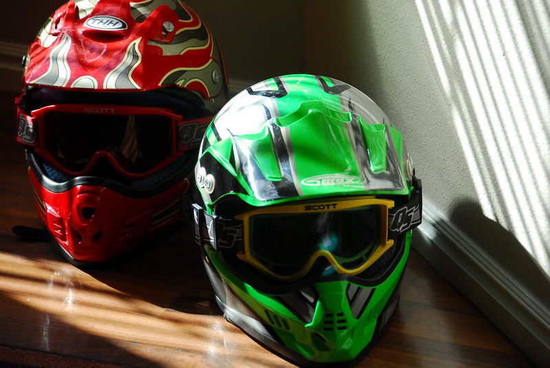 9/5/07 – Tomorrow we leave on our annual ATV trip to ride the Piaute ATV trail. Our helmets were just sitting on the floor with sunlight streaming across them. With the goggles they almost look life like, like heads on the floor.