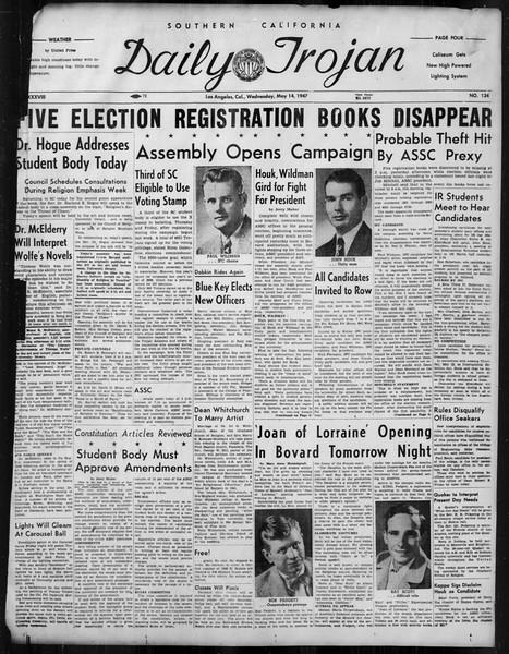 Daily Trojan, Vol. 38, No. 134, May 14, 1947