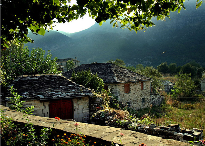 Village made of slate, Megalo Pakingo, Northern Greece.