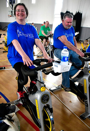 3/3/3019 Mike Orazzi | Staff National Federation of the Blind team members Paul and Cheri Duquette during the Charity Cycling Challenge event held at the Bristol Boys & Girls Club on West Street on Saturday.