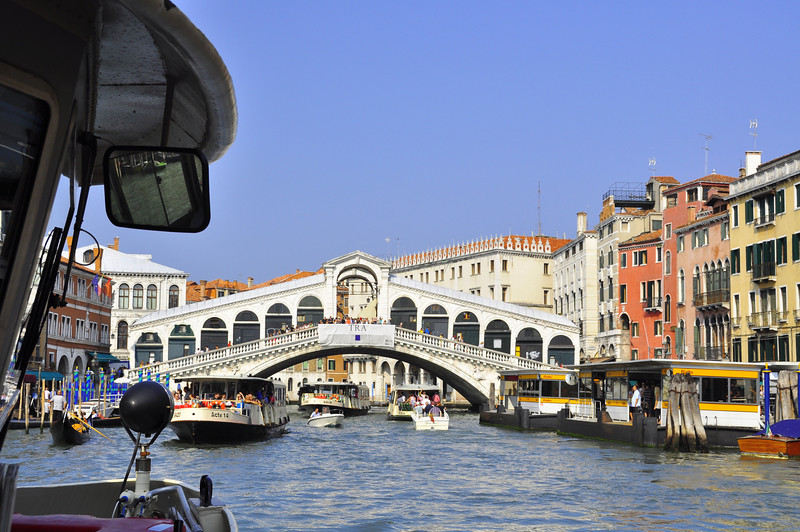 The Rialto Bridge from our vaporetto (public boat)