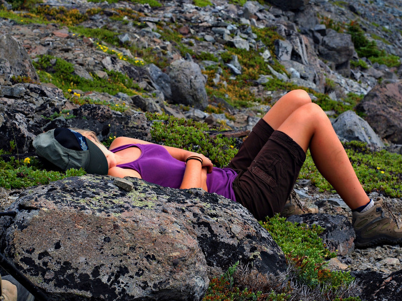 Emily taking a catnap at the summit.