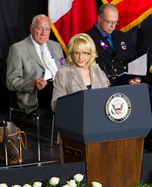 . Arizona Gov. Jan Brewer speaks during a memorial service for the 19 fallen firefighters at Tim\'s Toyota Center in Prescott Valley, Ariz. on Tuesday, July 9, 2013.     (AP Photo/The Arizona Republic, Michael Chow, Pool)