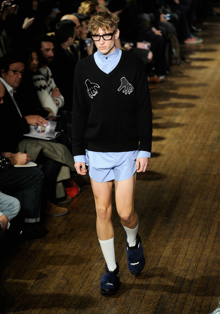 . A model walks the runway at the Xander Zhou show during The London Collections: Men Autumn/Winter 2014 on January 6, 2014 in London, England.  (Stuart C. Wilson/Getty Images)