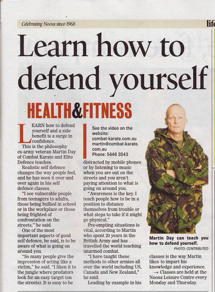 Shihan Martin Day Featured In Noosa News - Learn How To Defend Yourself!