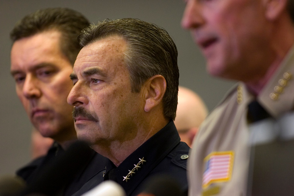 . LAPD Chief Charlie Beck listens as the San Bernardino County Sheriff\'s Department holds a press conference Wednesday, February 13, 2013, at the San Bernardino County Sheriff\'s Headquarters in San Bernardino. (Staff photo by Jennifer Cappuccio Maher/Inland Valley Daily Bulletin)