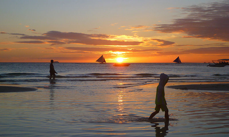 Walking on Boracay White Beach at Sunset