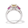 2.18ct Radiant Cut Diamond and Pink sapphire 3-Stone Ring by DBL GIA W-X, VS2 3