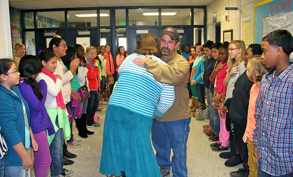 Local veteran surprised by son and J.T. Reddick students/teachers 1-16-14