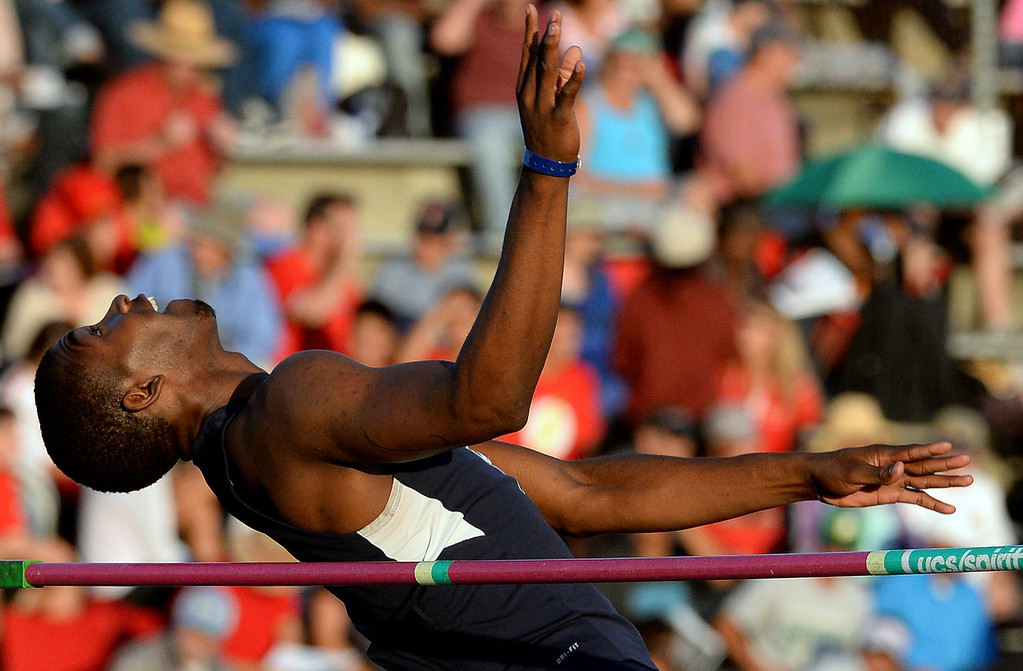 . Carter\'s Eric Moore competes in the high jump during the CIF-SS Masters Track and Field meet at Falcon Field on the campus of Cerritos College in Norwalk, Calif., on Friday, May 30, 2014.   (Keith Birmingham/Pasadena Star-News)