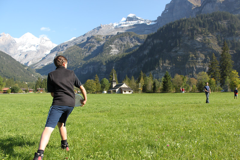 Ryan finding a safer place to toss the frisbee in Kandersteg