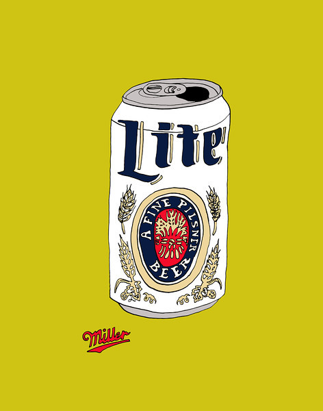 'Miller Lite Throwback' ink drawing + digital coloring Daniel Driensky © 2014