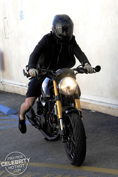 Orlando Bloom Leaves Yoga Class On Ducati Motorbike