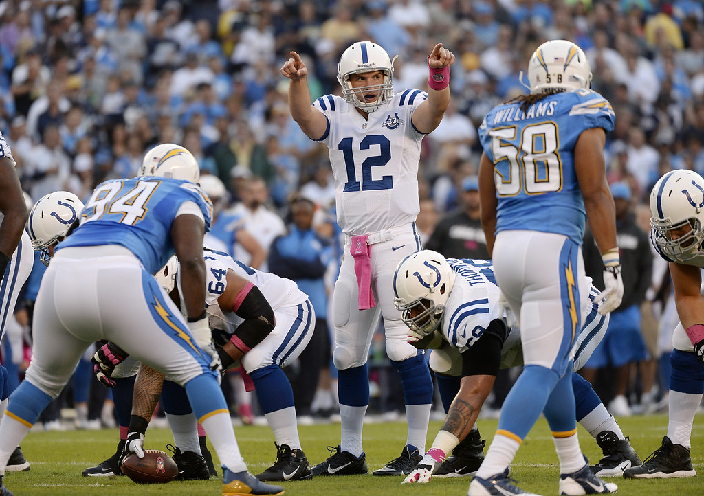 . Quarterback Andrew Luck #12 of the Indianapolis Colts yells instruction during the football game against the San Diego Chargers at Qualcomm Stadium October 14, 2013 in San Diego, California.  (Photo by Kevork Djansezian/Getty Images)