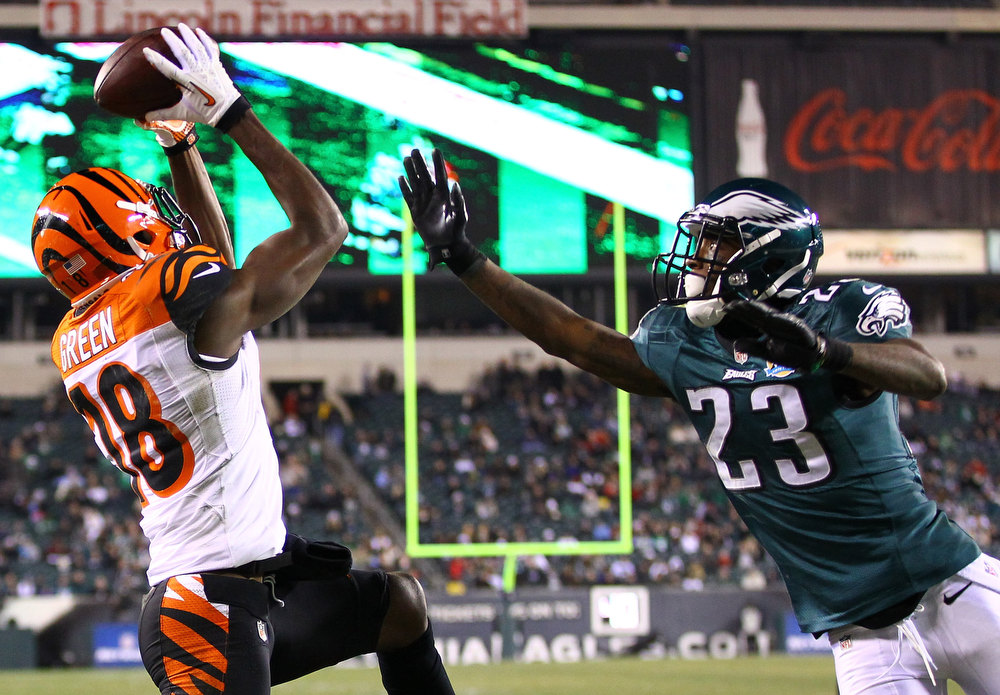 Description of . A.J. Green #18 of the Cincinnati Bengals catches a touchdown against  Dominique Rodgers-Cromartie #23 of the Philadelphia Eagles during their game at Lincoln Financial Field on December 13, 2012 in Philadelphia, Pennsylvania.  (Photo by Al Bello/Getty Images)