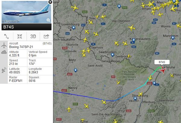 VP-BLK   B.747SP flying Paris-LBG to Karlsruhe- BadenBaden, January 3rd, 2016!
