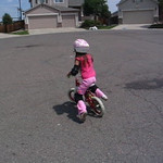 Kailin riding without training wheels