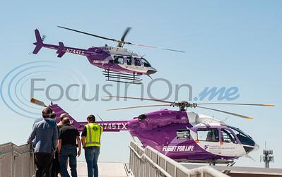 Flight for Life Helicopter Test Flights at Flight For Life helicopter helipad on New Bradley-Thompson Tower at Christus Mother Frances Hospital – Tyler by Sarah Miller