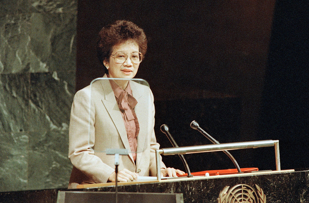 . 1986: Corazon C. Aquino. Philippines President Corazon C. Aquino speaks to the United Nations General Assembly, Sept. 22, 1986. A teleprompter is at her left.(AP Photo/Marty Lederhandler)