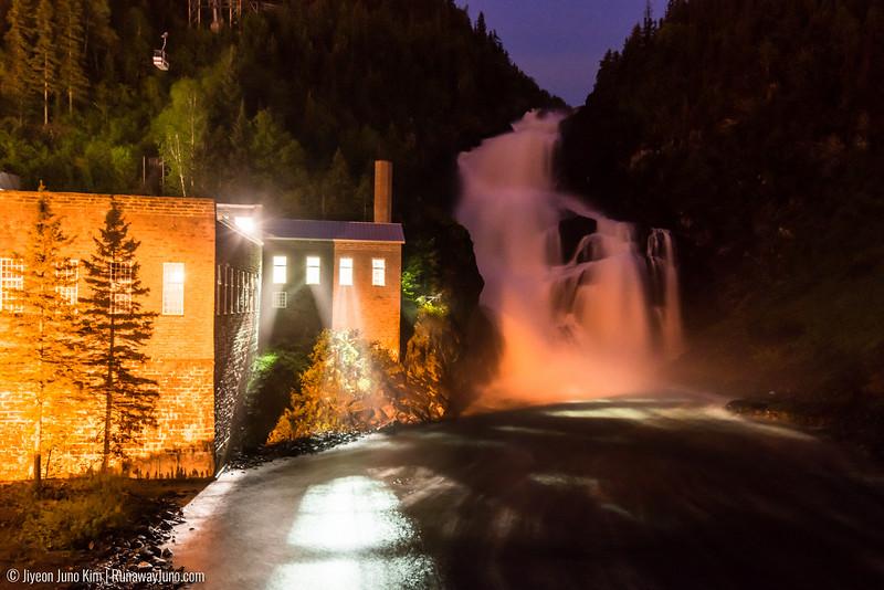 Ouiatchouan Falls at night