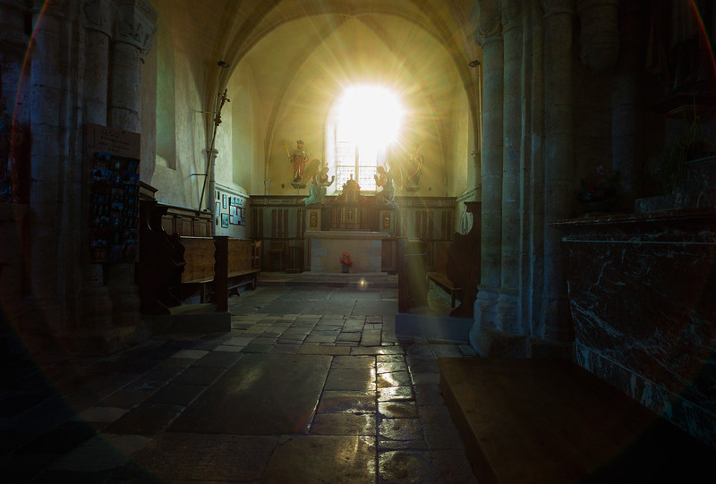 Medieval church in Angoville-au-Plain in Normandy.