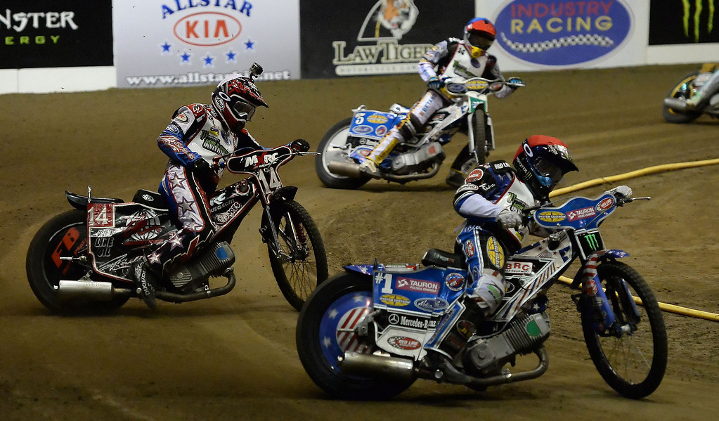 . Greg Hancock (15) along with Billy Janniro (16) and Maciej Janowski (14) in the fourth race during the Monster Energy Speedway Cycles at the Industry Speedway in the Industry Hills Grand Arena in Industry, Calif., on Saturday, Dec. 28, 2013.     (Keith Birmingham Pasadena Star-News)