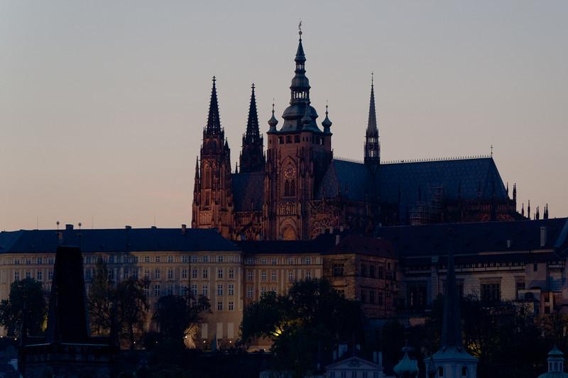 The Prague Castle at dusk - Prague, Czech Republic