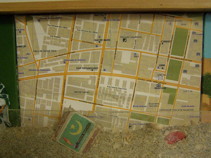 Mauritania Tableau, 3: map of the commercial center of Nouakchott, the capital (paper map stretched over canvas)