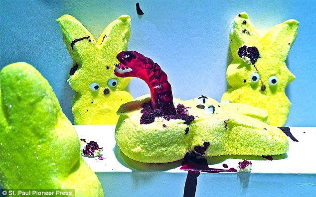 """. <p>2. PEEPS <p>Really don�t lend themselves to bloody, horrific dioramas. Which is unfortunate. (unranked) <p><b><a href=\'http://photos.twincities.com/2014/04/19/2014-pioneer-press-peeps-contest-winners/\' target=\""""_blank\""""> HUH?</a></b> <p>   (\""""Alien!\"""" by Nina Fan of Falcon Heights)"""