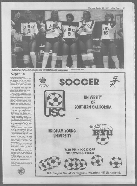 Daily Trojan, Vol. 105, No. 40, October 29, 1987