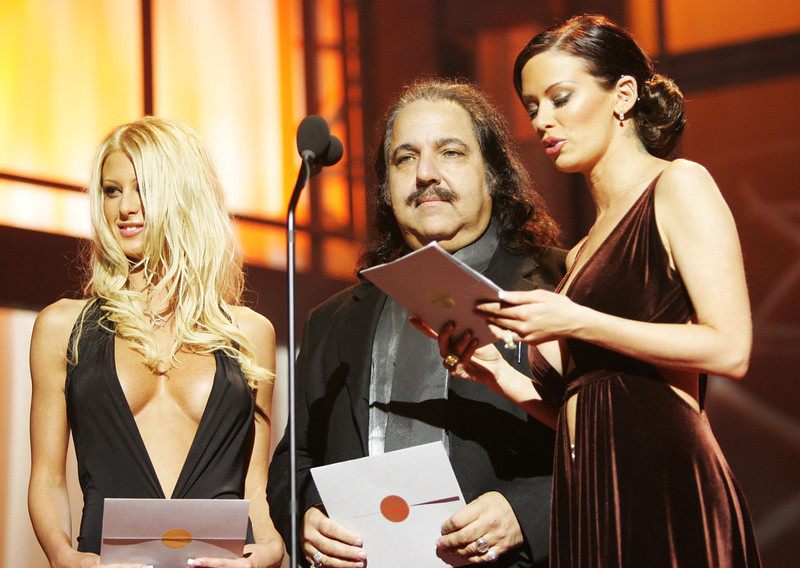 . Crystal Steel, Ron Jeremy and Jenna Jameson present an award at the 2005 AVN (Adult Video News) Awards on January 8, 2005 at the Venetian Hotel in Las Vegas, Nevada. (Photo by Evan Agostini/Getty Images)