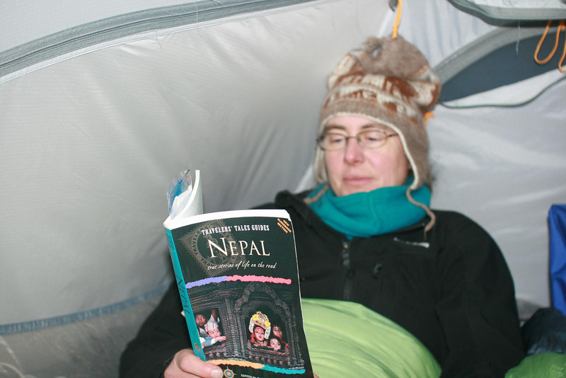 It's freezing at night!: But we are cozy in a 4-season tent with down sleeping bags.
