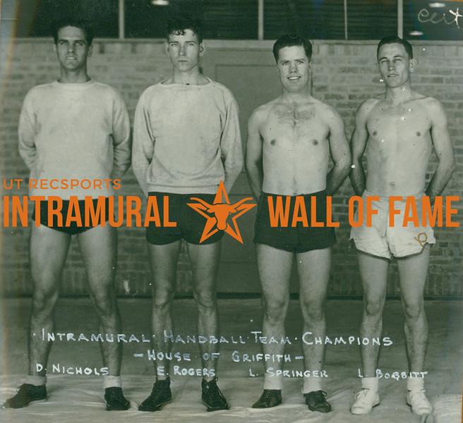 HANDBALL Intramural Team Champions  House of Griffith  D. Nichols, E. Rogers, L. Springer & L. Bobbitt