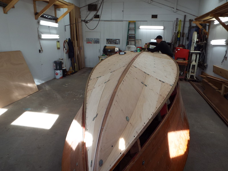 View from the bow with the bottom skin fit.