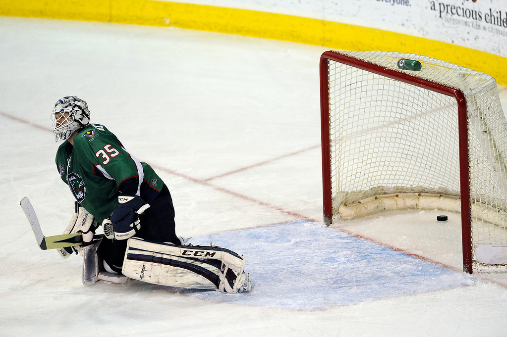 . DENVER, CO - MAY 2: Denver Cutthroats goalie Kent Patterson (35) is slow to get up after giving up a goal to the Allen Americans during the second period of game 1 of the Ray Miron Presidents Cup Finals at the Denver Coliseum in Denver, Colorado on May 2, 2014. (Photo by Seth McConnell/The Denver Post)