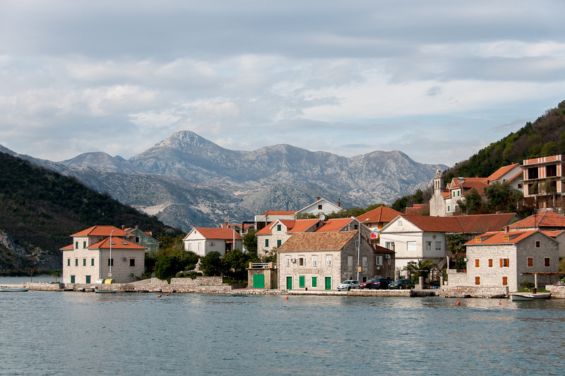Houses and buildings along the coast of Kotor Bay in Kotor, Montenegro