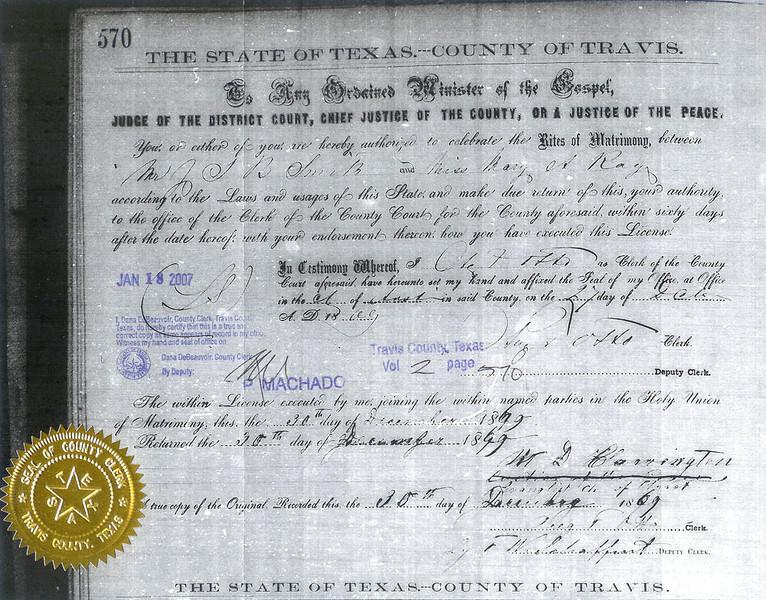 1869 MC - J S B Smith and Mary A Ray, Dec 30, 1869.jpg