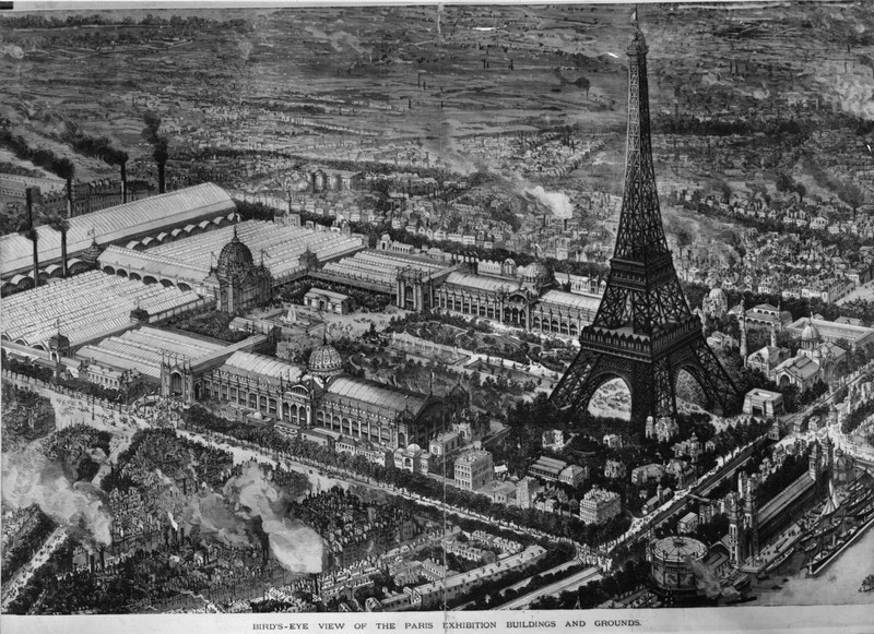 . 16th May 1889:  A bird\'s eye view of the Paris Exhibition Buildings and Grounds near the Eiffel tower. Original Publication: Illustrated London News - Supplement - pub. 1889  (Photo by HultonArchive/Illustrated London News/Getty Images)