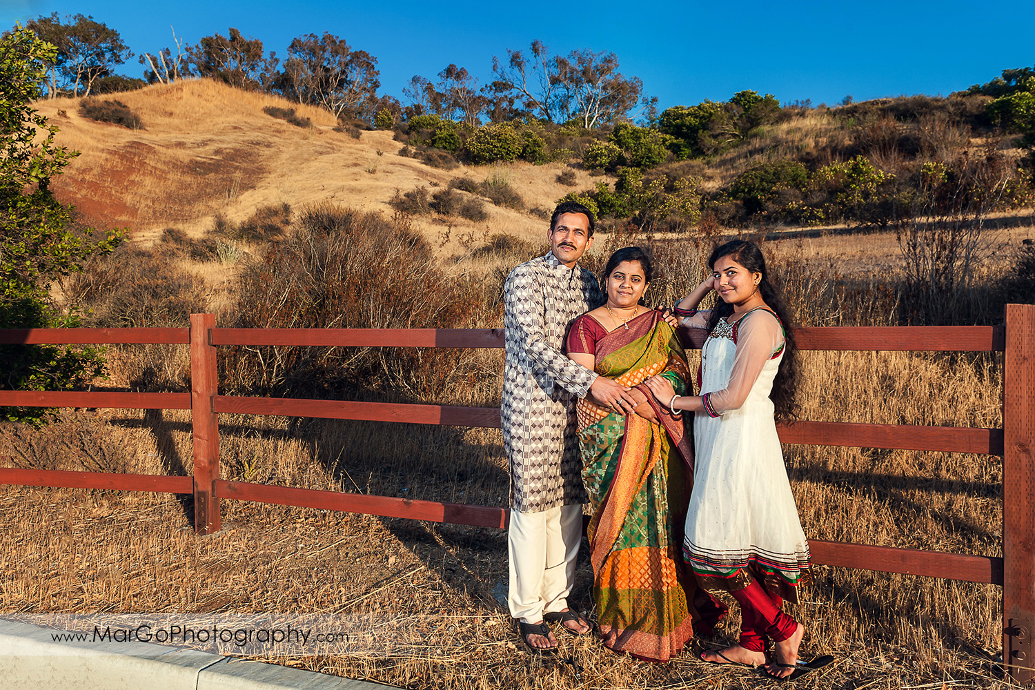 Indian family with Fremont Don Edwards Refuge hills in background