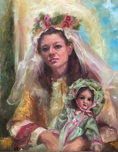 """""""Women with her doll"""" (oil on panel) by Anna Sandler"""