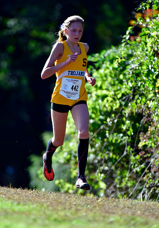 10/16/2018 Mike Orazzi | Staff Simsbury High School's Dagny	Edwards during the CCC Conference Cross Country Championships in Manchester's Wickham Park Tuesday.